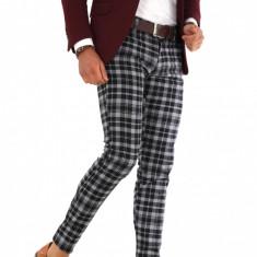 Pantaloni gri eleganti carouri - pantaloni barbati - 9288, Marime: 29, 30, 32, 33, 34, 36, Culoare: Din imagine