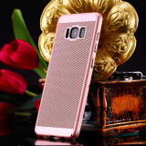 Husa Samsung Galaxy J7 2016 Perforata Rose Gold, Alt model telefon Samsung, Roz, Plastic