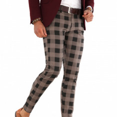Pantaloni maro eleganti carouri - pantaloni barbati - 9287, Marime: 33, 36, Culoare: Din imagine