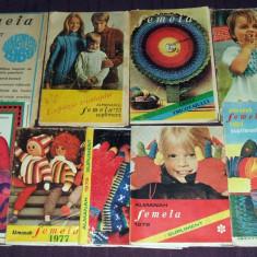 Lot de 9 Suplimente ale Almanahului Femeia 1969-1980, moda, croitorie, broderie