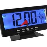 Ceas electronic digital cu senzor acustic, alarma si termometru - Ceas de perete