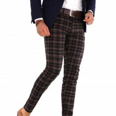 Pantaloni maro eleganti carouri  - pantaloni barbati - 9286, Din imagine