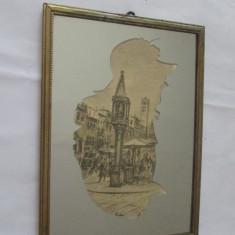 SCENA URBANA-sfarsit sec.XIX-creion-Tablou-oglinda-vintage