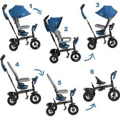 Tricicleta 6 in 1 cu scaun rotativ Swift Kinderkraft Blue KinderKraft - Tricicleta copii