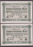 SET 2 BANCNOTE GERMANIA - AACHEN - 100.000 MARK (20 IULIE)-EDITIA C, EDITIE RARA