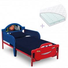 Set pat cu cadru metalic Cars Team 3D si saltea pentru patut Dreamily - 140 x 70 x 10 cm - Pat tematic pentru copii, Multicolor