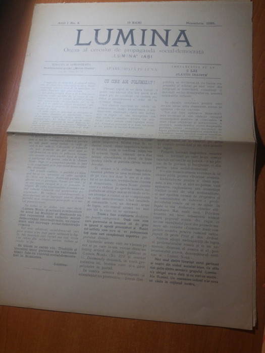 ziarul lumina noiembrie 1895-organ al cercului de propaganda social democrata