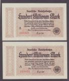 SET 3 BANCNOTE GERMANIA - REICHSBAHN-100 MILLIONEN MARK 1923, SERII CONSECUTIVE