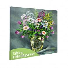 Tablou fosforescent Vaza de sticla cu flori de camp