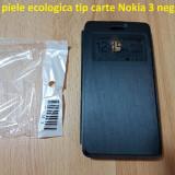 Husa piele ecologica tip carte Nokia 3 negru - Husa Telefon Nokia, Fara snur