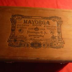 Cutie din lemn pt. trabucuri Mayorga Segovia Nicaragua, dim. = 18x12, 5 cm