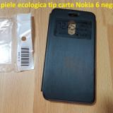 Husa piele ecologica tip carte Nokia 6 negru - Husa Telefon Nokia, Fara snur