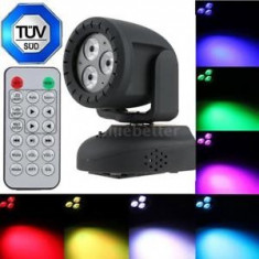 MINI MOVING HEAD CU 3 LEDURI DE MARE PUTERE RGBW 4in1, LUMINA DISCO CU LEDURI SMD - Moving heads club
