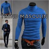 Helanca Bluza pe Gat Maleta Roll Neck Barbati Slim Albastra, L, M, S, XS, Bumbac, Albastru