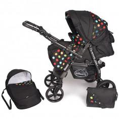 Carucior Hubners Tessa Lux 2 in 1 Negru cu Buline Colorate - Carucior copii 2 in 1
