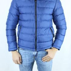 Geaca de Iarna Barbati Groasa Albastra de Fas Scurta cu Fermoar Slimfit fashion - Geaca barbati, Marime: S, M, Culoare: Albastru