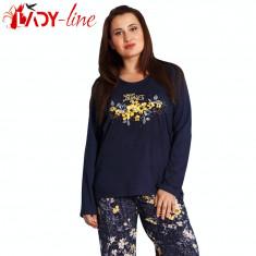 Pijamale Dama Marimi Mari, Vienetta Secret, Perfect Day, Cod 1481, Marime: XL, XXL, XXXL, XXXXL, Culoare: Albastru