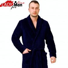 Halat Barbati Moale cu Cordon si Buzunare Laterale, M-Max, Fluffy Blue, Cod 1446, Culoare: Albastru, Marime: XXL