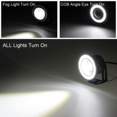 Proiectoare auto LED cu angel eyes 89 mm 3 dimensiuni disponibile