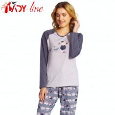 Pijamale Dama Maneca/Pantalon Lung, Vienetta Secret, Goo Better, Cod 1405, Marime: S, M, L, XL, Culoare: Gri