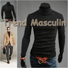 Helanca Bluza pe Gat Maleta Roll Neck Barbati Slim Neagra - Bluza barbati, Marime: M, Culoare: Negru, Bumbac
