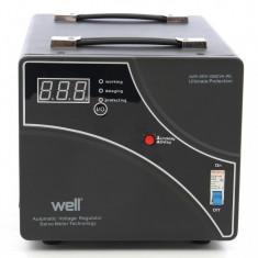 Stabilizator automat de tensiune cu releu negru Well AVR-REL-GUARD1500-WL, 1500VA - Stabilizator tensiune