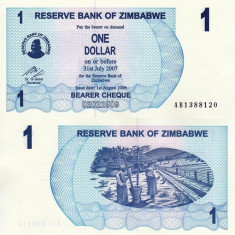 ZIMBABWE 1 dollar 2006 BEARER CHEQUE UNC!!! - bancnota africa