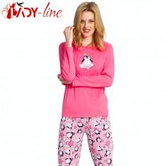 Pijamale Dama Maneca/Pantalon Lung, Vienetta Secret, Smart Penguine, Cod 1407, Marime: L, XL, Culoare: Roz