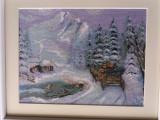 "Goblen inramat lucrat manual ""peisaj de iarna""- Cadou unic - Handmade"