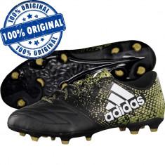 Pantofi sport Adidas X 16.3 Leather pentru barbati - ghete fotbal - originale, Marime: 41 1/3, 42, 43 1/3, 44, Culoare: Negru, Iarba: 1