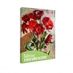 Tablou fosforescent Flori rosii pictate in ulei