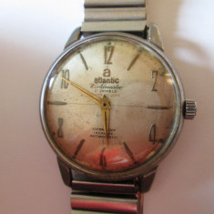 Ceas elvetian Atlantic Worldmaster Super de luxe 21 Jewels, mc.rosu 2 Adj.anii 70 - Ceas barbatesc Atlantic, Elegant, Mecanic-Manual, Otel, Inox, Analog
