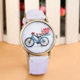 Cumpara ieftin NOU Ceas de dama fashion alb bicicleta MY BICYCLE Geneva curea tip denim, Quartz, Inox