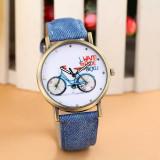Cumpara ieftin NOU Ceas de dama fashion albastru bicicleta MY BICYCLE Geneva curea tip denim