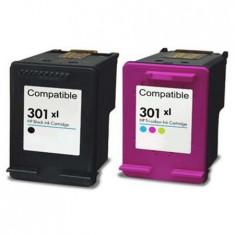 301XL, Set 2 Cartus Compatibil cu HP301XLBK/301XLC, HP Deskjet 1000, 1010, 1510, 1512 - Cartus imprimanta