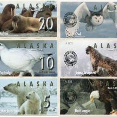 !!! ALASKA - LOT COMPLET 1 + 2 + 3 + 5 + 10 + 20 DOLARI, MARTIE 2016 - UNC - bancnota america