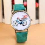 Cumpara ieftin NOU Ceas de dama fashion verde bicicleta MY BICYCLE Geneva curea tip denim, Quartz, Inox
