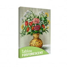 Tablou fosforescent Buchet de flori in vas african - Tablou canvas