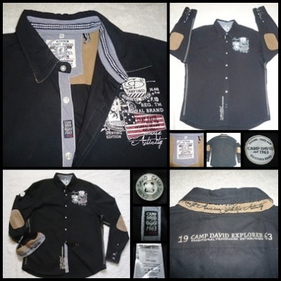 CAMASA NEAGRA BARBATI CAMP DAVID REGULAR FIT COATE MARO EMBLEMA BRODATE foto