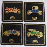 (T) 4 suporti de pahar Texaco masini de epoca oldsmobile vintage, gravura