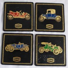 (T) 4 suporti de pahar Texaco masini de epoca oldsmobile vintage, gravura - Suport pahare