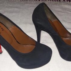 Pantofi cu platforma piele intoarsa, cu toc 13 cm - Pantof dama, Culoare: Negru, Marime: 38