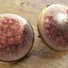 Cercei clips baza bronz cabochon cermica vitrificata