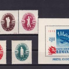 ROMANIA 1946  LP 195  LP 196 - 1 MAI  SERIE SI COLITA  MNH