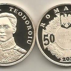 ROMANIA 50 BANI 2017, 100 ANI ECATERINA TEODOROIU PRIMA FEMEIE OFITER -PROOF - Moneda Romania, Alama