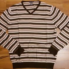 Pulover barbati H&M | Marime: L | Culoare: maro cu dungi, Marime: L, Culoare: Din imagine, Bumbac