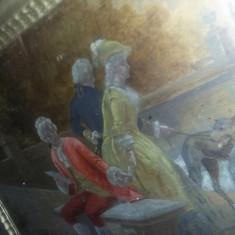 Tablou vechi pictat pe lemn,pictura veche vintage,superba,transport GRATUIT