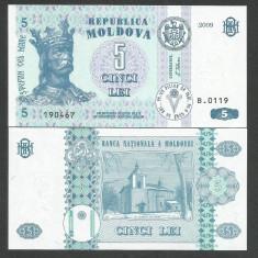 MOLDOVA 5 LEI 2009 UNC [1] P-9f, necirculata - bancnota europa