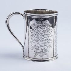 Halba, cana, pahar mare din argint masiv Londra an 1876, decorata manual, aurita, Pahare