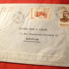 Plic circ.Par Avion de la Marseille -Franta- la Tananarive ( Madagascar)1949